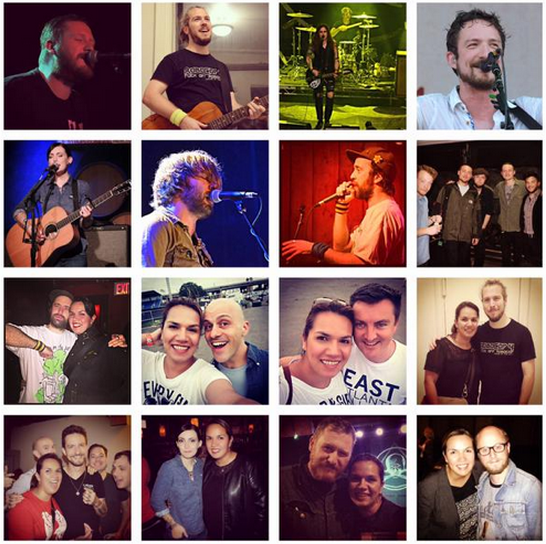 From left to right starting from the top: Matt Goud (Northcote), Barry Dolan (Oxygen Thief) on his Skiffle tour, Laura Jane Grace (Against Me!), Frank Turner, Billy the Kid, unknown, Beans On Toast, xxxx, Maribella with:Beans On Toast, Nigel Powell (The Sleeping Souls), Ben Lloyd (The Sleeping Souls), Barry, Frank, Billy, Matt, and photographer Gregory Nolan!