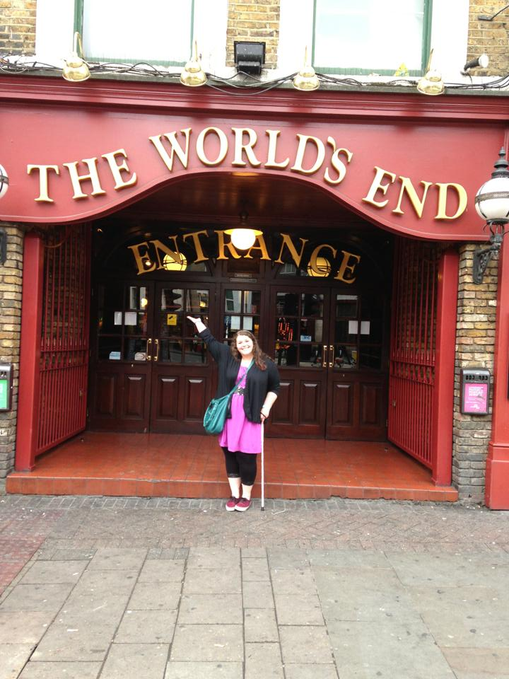 Val with her cane outside The World's End in Camden, right next to excellent rock venue, The Underworld.
