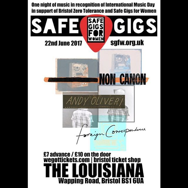 See @noncanon555 this week at a @safegigs4women gig in Bristol! #xtramile #xtramilerecordings #noncanon #safegigs4women