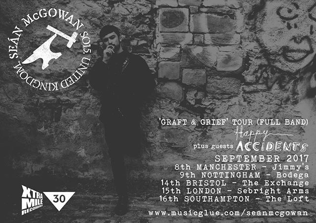 This September @seanmcgowanuk will be going out on a full band tour around the U.K., with @happyaccidentsuk supporting! It's gonna be amaaaaaazing. Tickets on sale Friday 🎫🎫🎫 . . . #xtramilerecordings #XMRfamily #xtramile #seanmcgowan