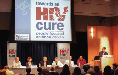 """Dr. Barré-Sinoussi co-chaired a symposium titled """"Towards an HIV Cure"""" preceding the 2012 International AIDS Conference. Among the panelists (second from left) was Dr. Rowena Johnston, vice president and director of research at amfAR."""