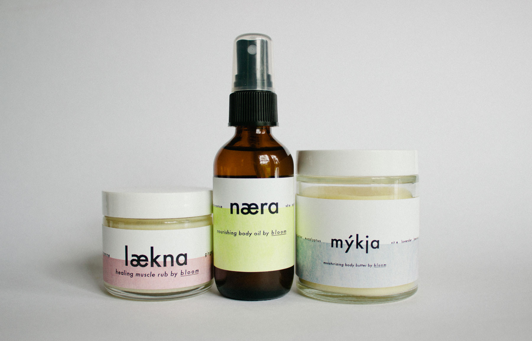 Instantly nourish and restoreyour skin while simulatenously giving your nosea legitmate reason to yourself every five seconds:  laekna healing muscle rub  infuses achy joints with, natural anti-inflammatories like ginger and peppermint;  naera nourishing body oil   is addictivly warm and soft with extracts from bergamot and frankensince to encouragehealthy cell regrowth;   myjka mositurzing body butter   locks in moisture and awakens skin grapefruit and eucalyptus