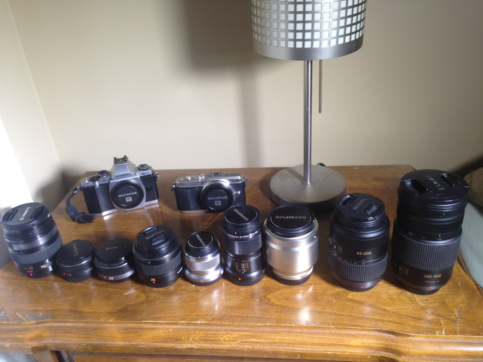 My current rig.  A decent setup, but please don't think I'm rich. :(  Lenses from left to right: P12-35mm/2.8, P14mm/2.5, P20mm/1.7, PL25mm/1.4, O45mm/1.8, O60mm/2.8, O75mm/1.8, P45-200mm, P100-300mm.  OMD and E-PL5 hanging out in the back.  Cheap Ikea light on right.