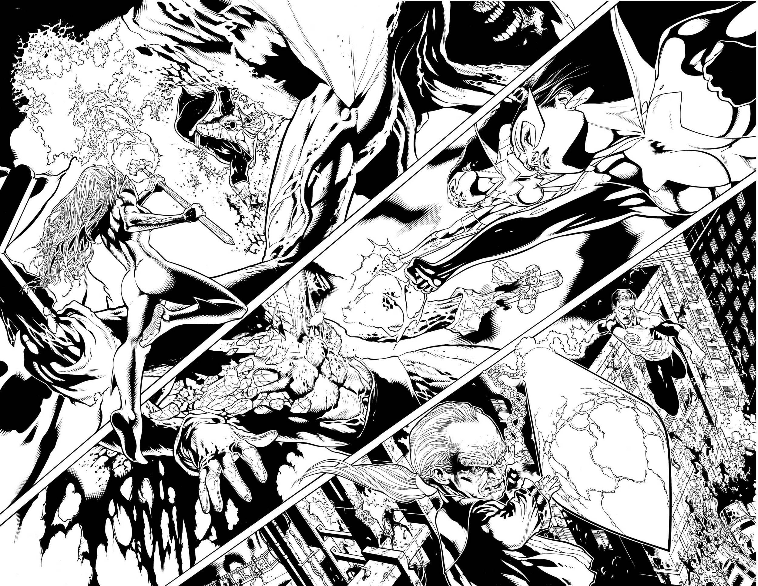 Green Lantern #50, pages 16-17. Pencils: Doug Mahnke Inks: Tom Nguyen