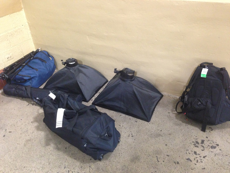 The black duffel bag and backpack on the right are actually mine, containing my own gear.