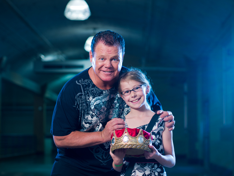 "WWE's Jerry ""The King"" Lawler with fan."