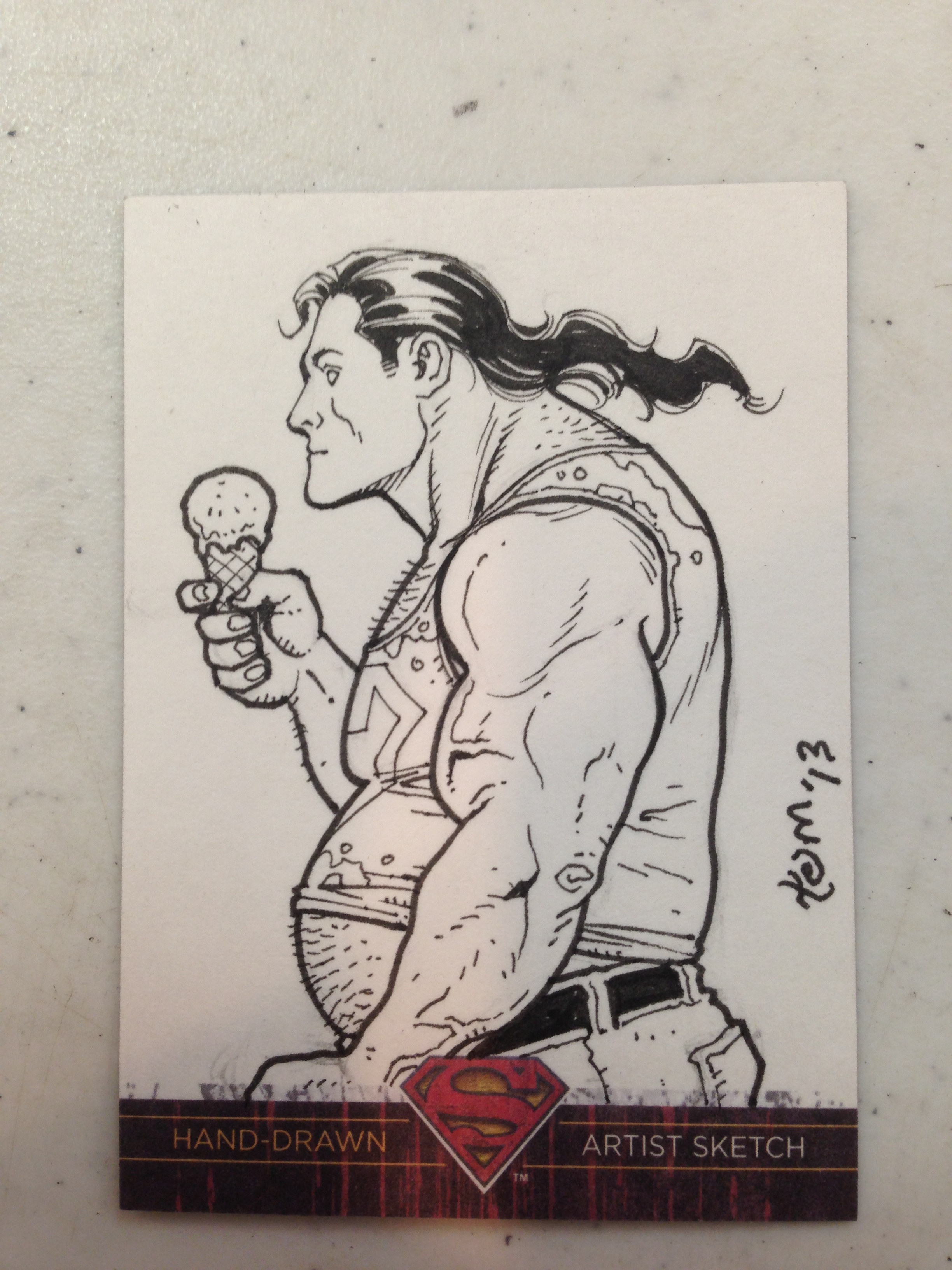 White trash Superman.  Yes, that was a request!  Second mullet sketch of the day.