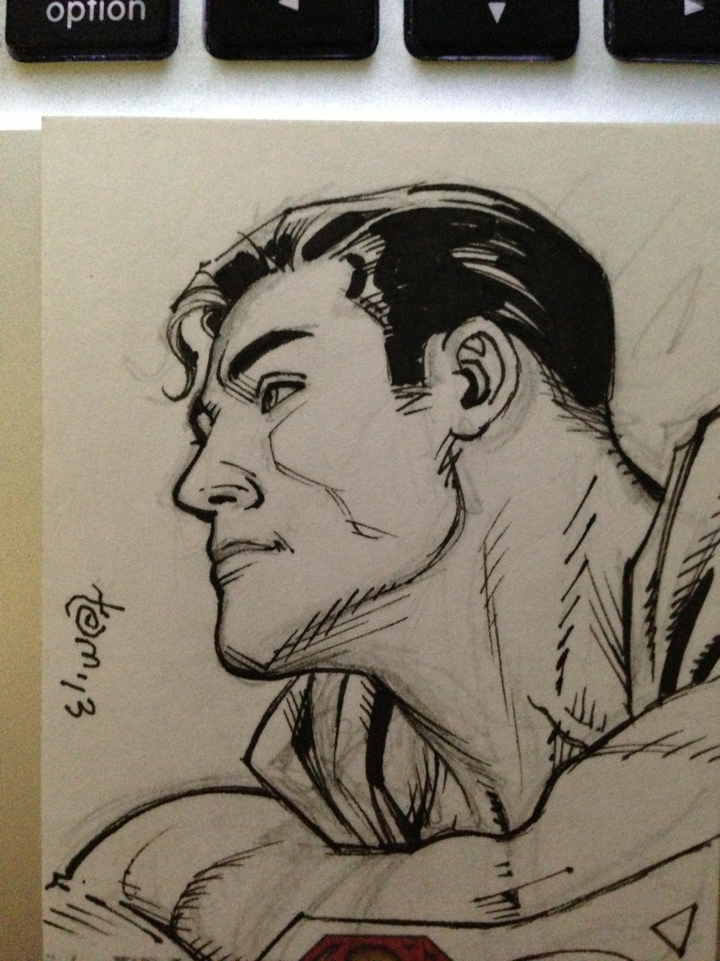 Superman head card sketch for Ryan, winner of another   Art Samura  i workshop contest.