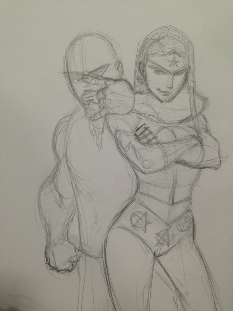 Preliminary sketch before inks of Kerry King and Wonder Woman...