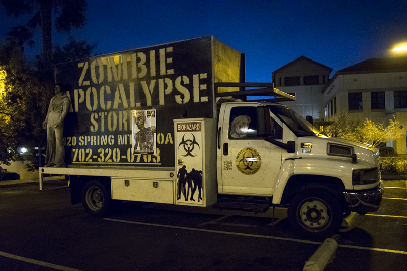Cool zombie truck outside the hotel parking lot.