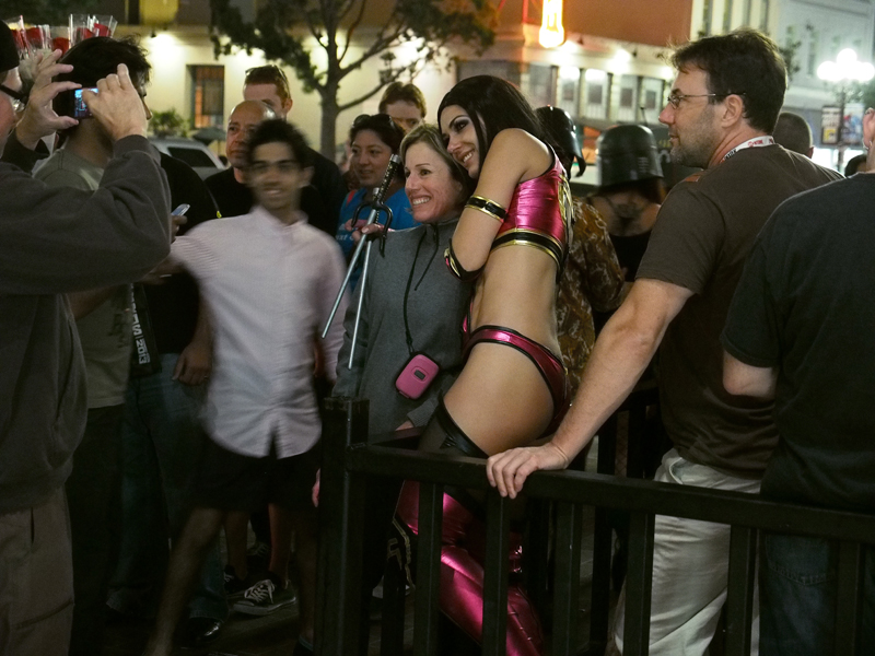 Adrianne Curry working the crowd in downtown San Diego after the show hours.