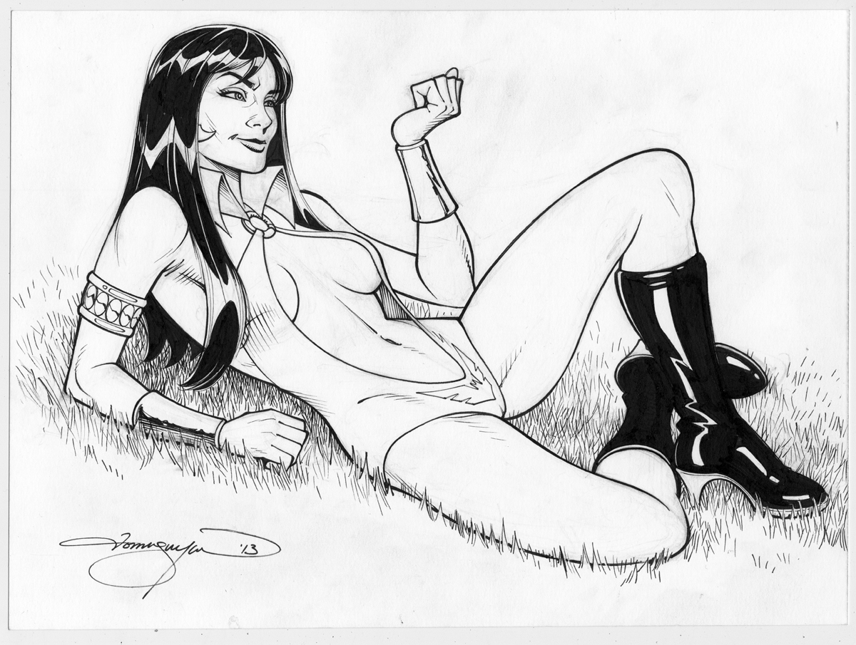 Vampirella, 9 X 12 inches ink on bristol board