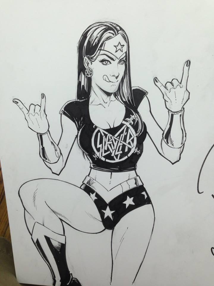 Wonder Woman in Slayer garb...fuck yeah!