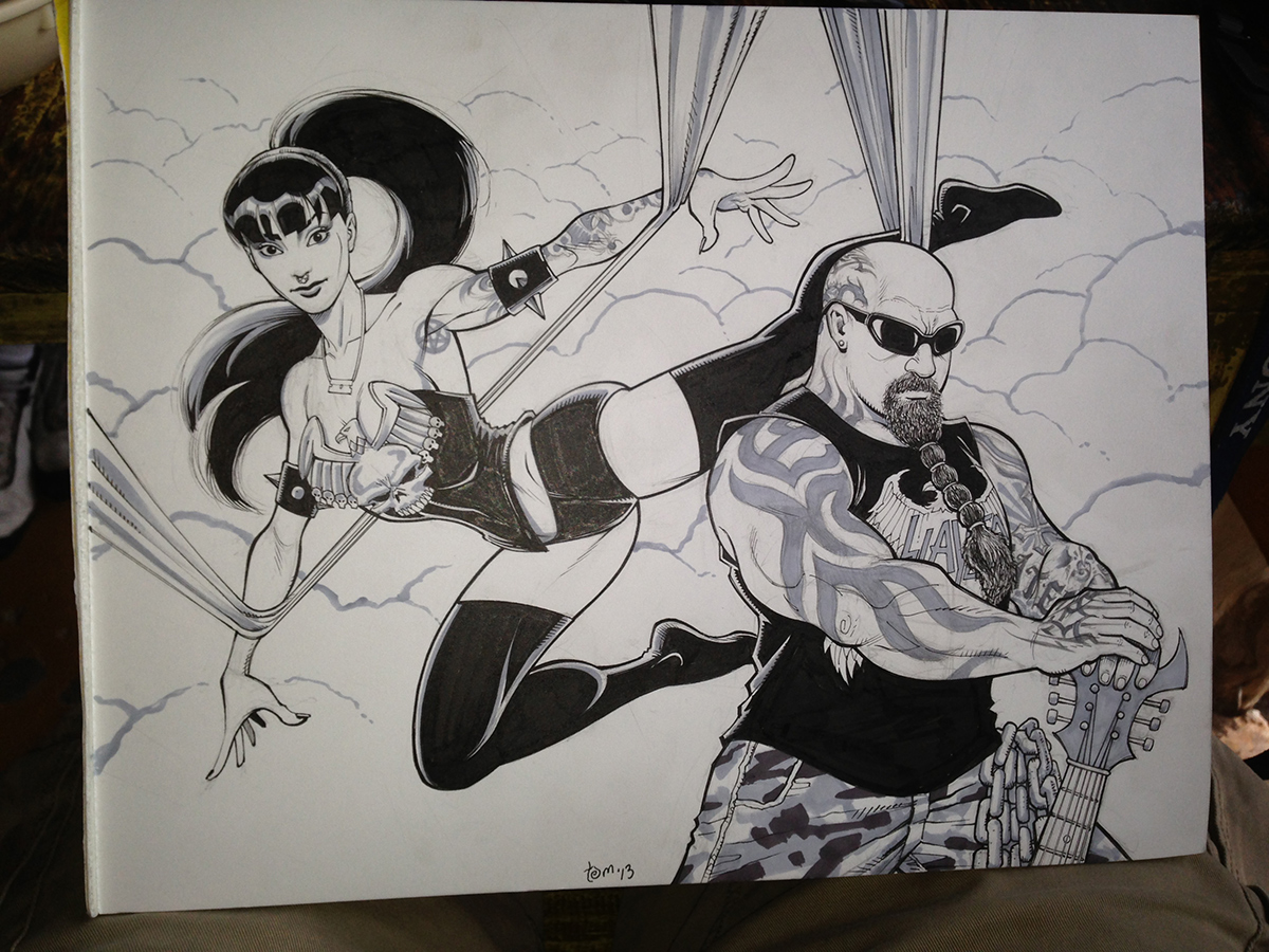 Finished during lunch on the day of the Austin Fun Fun Fun Fest show. I used marker wash here and there.