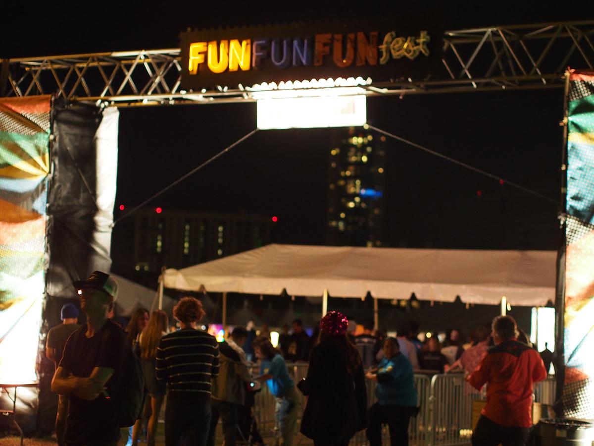 Going backwards...Fun Fun Fun Fest stage in Austin, TX.