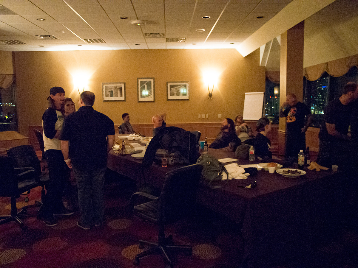 Back at the hotel where I met with KK. There is Paul Bostaph (with the backwards hat on the left), the drummer. I met him in the elevator leaving, very nice guy. Sitting down is the fill-in guitarist Gary Holt since Jeff Hanneman's (RIP) had been away. Unfortunately, Tom Araya was nowhere to be seen.