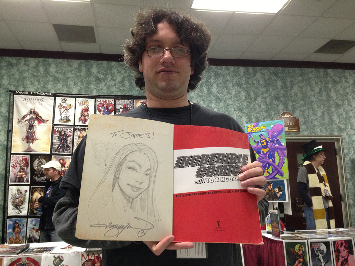 "It's true, if you have purchased either   ""Incredible Comics With Tom Nguyen""   or   ""Incredible Comic Book Women With Tom Nguyen,""   then you get a free sketch on the inside cover.  Thanks, James!"