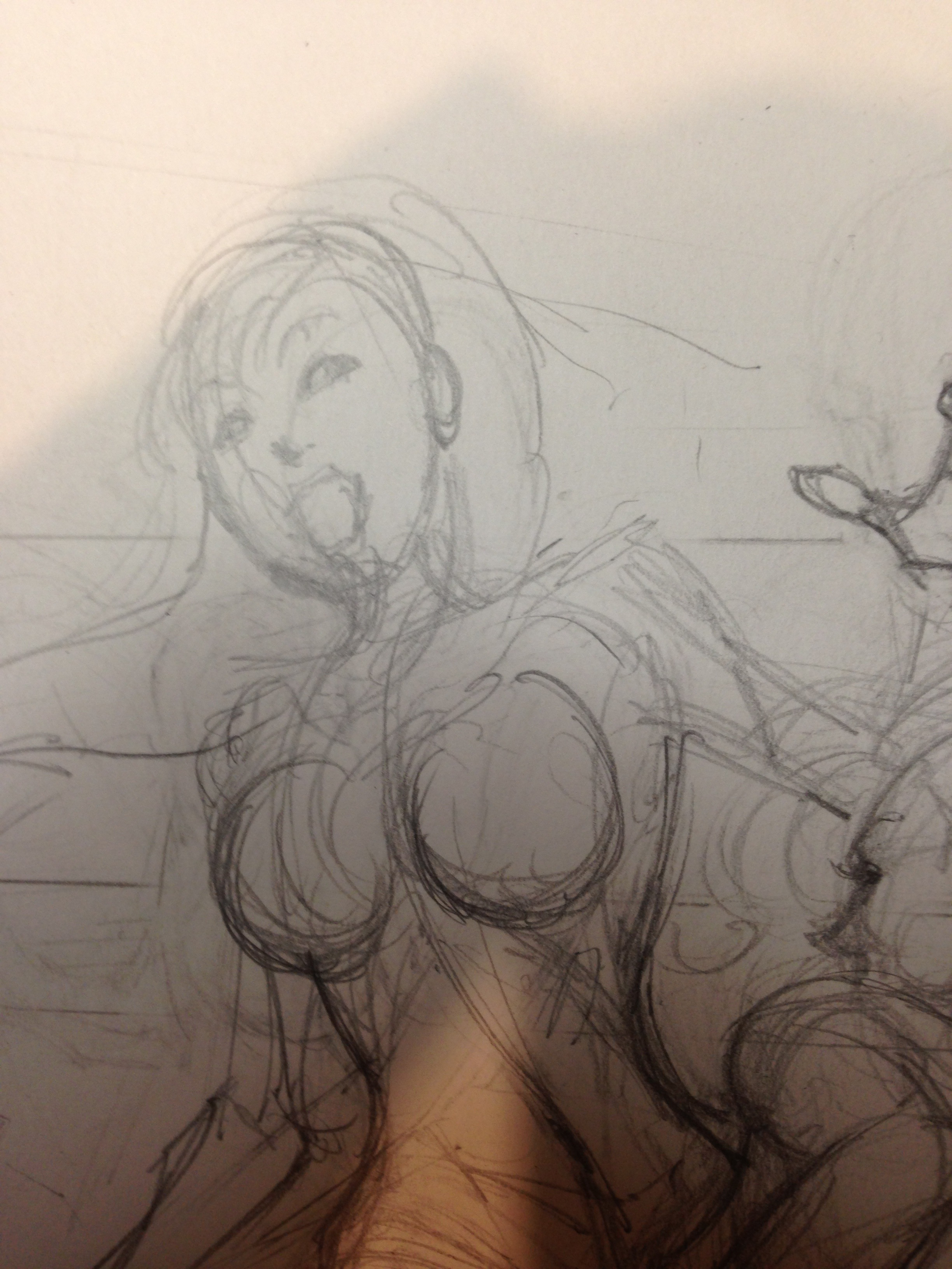 Pencil rough sketch.