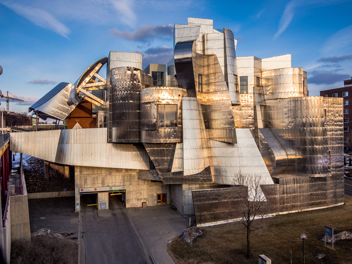 Weisman Art Museum , University of MN.   Olympus E-PL5 + Panasonic Lumix 14mm/2.5 1/200 second at f/7.1, ISO 200.