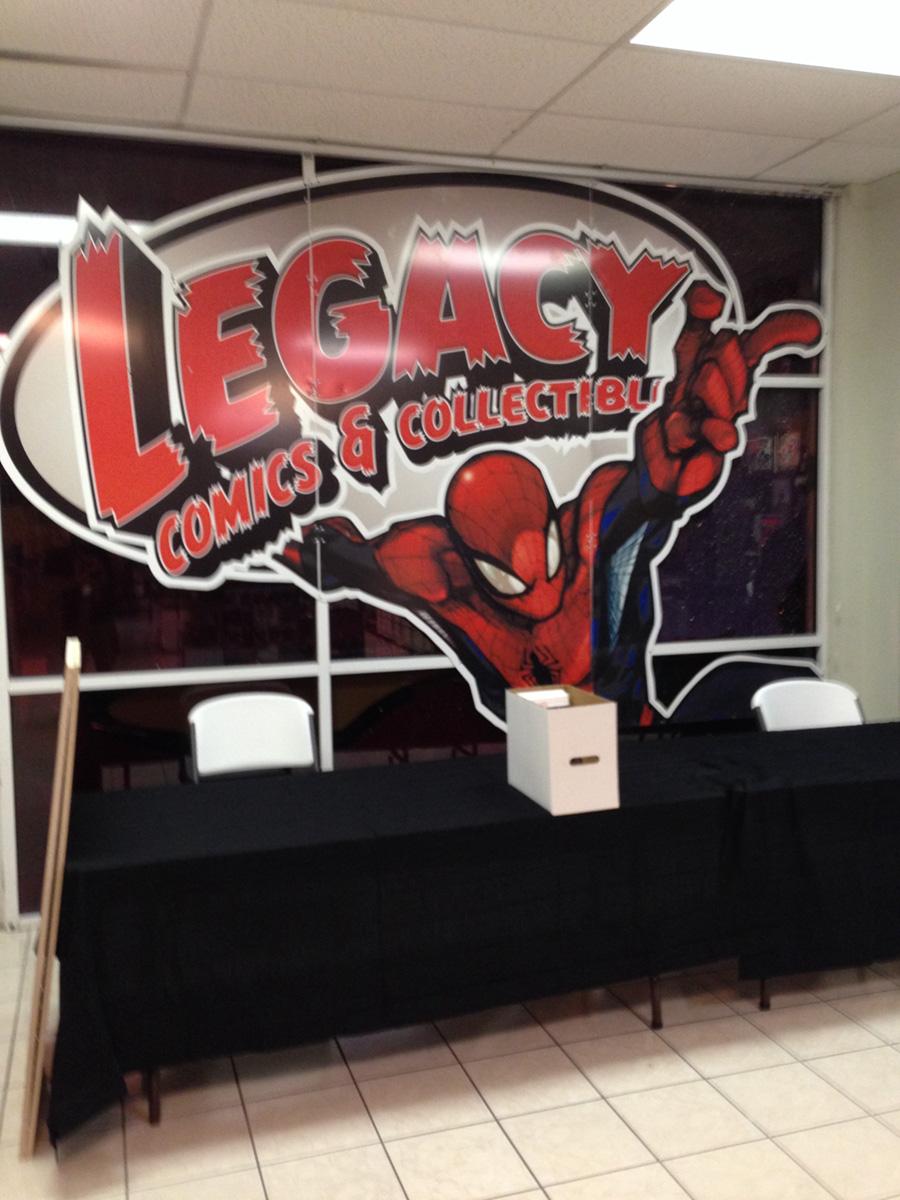 My table at Legacy Comics in Laredo, Texas.