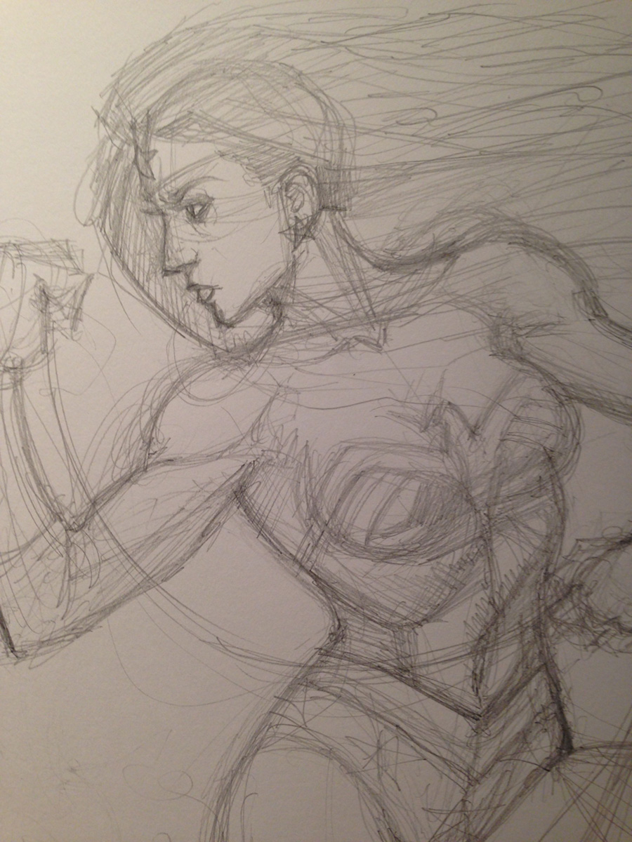 BEFORE: rough pencil sketch of Wonder Woman commission