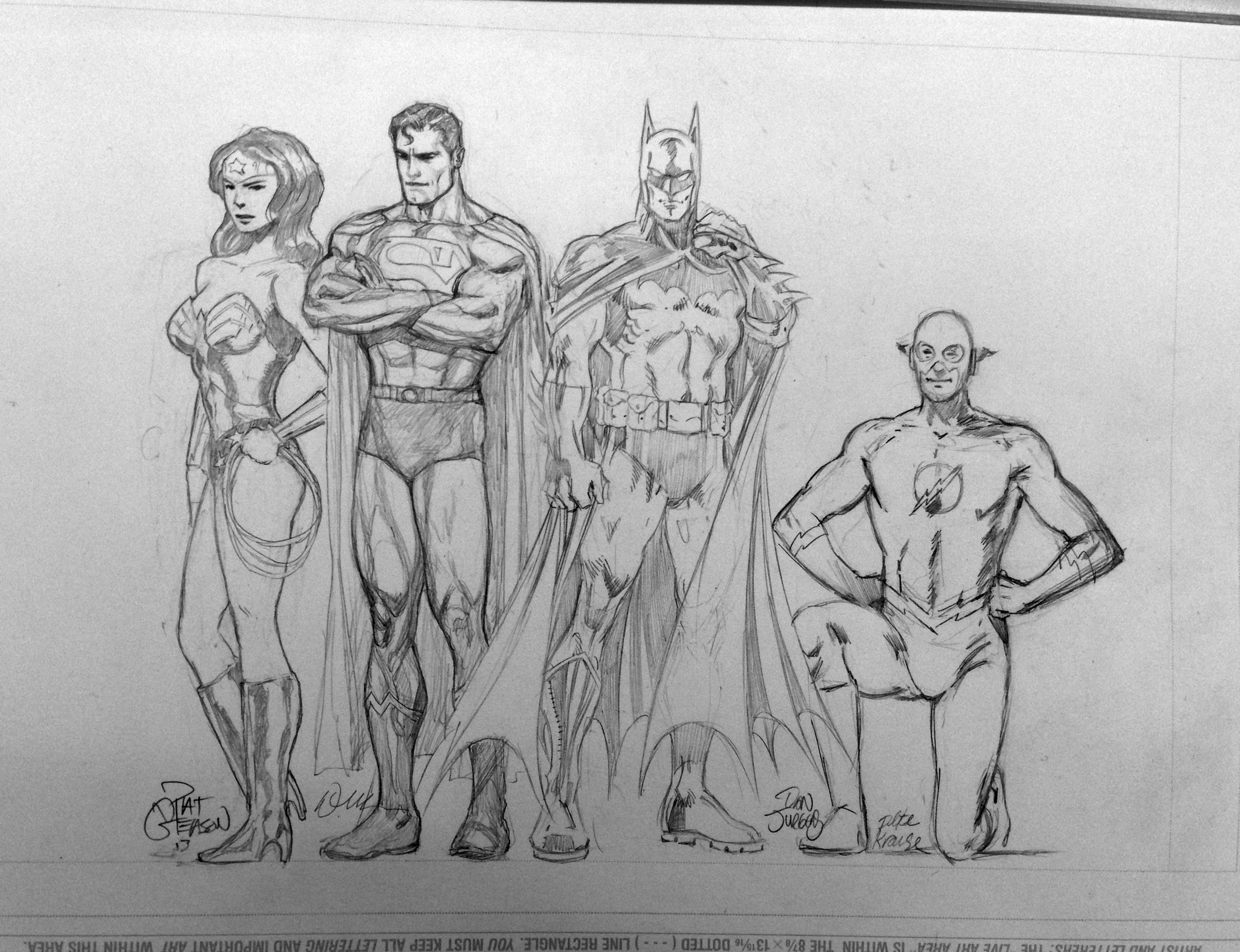 From left to right: Wonder Woman by  Pat Gleason , Superman by  Doug Mahnke , Batman by  Dan Jurgens , and Flash by  Peter Krause.