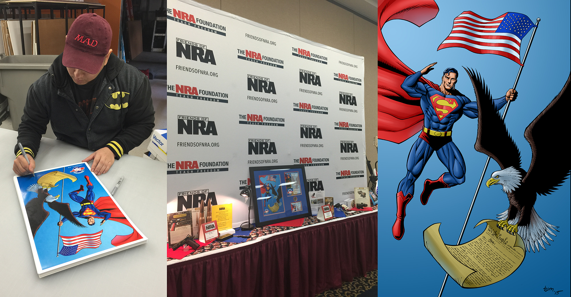 This year I was invited twice to the   Tennessee Friends of NRA   dinner banquet (thanks to Michael Webb and Jim Bruce) to contribute an exclusive  Superman  illustration that was printed in limited numbers to be auctioned off to raise money.  The prints were a huge success this year, raising around  $15,000 .  See a larger version   here .