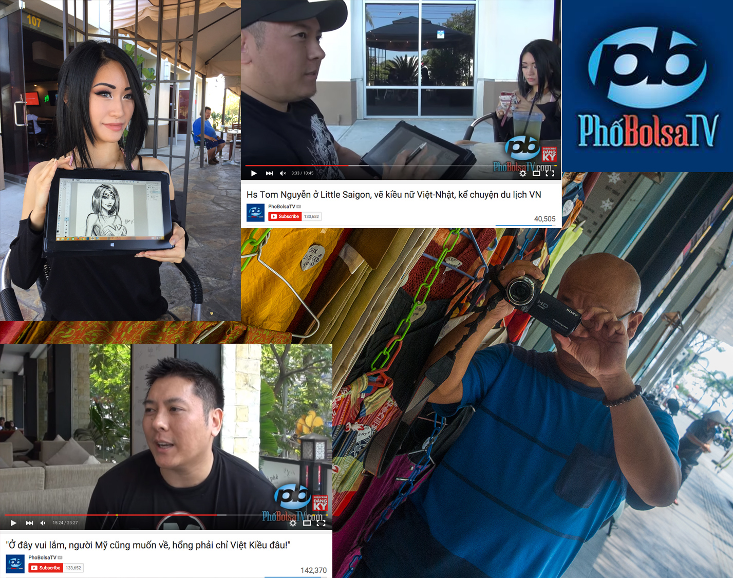 I was fortunate enough to meet  Mr. Lan Vu  of the Vietnamese famous   PhoBolsa TV   channel, and was interviewed twice by him--once in Saigon, Vietnam, and once in Orange County, CA.