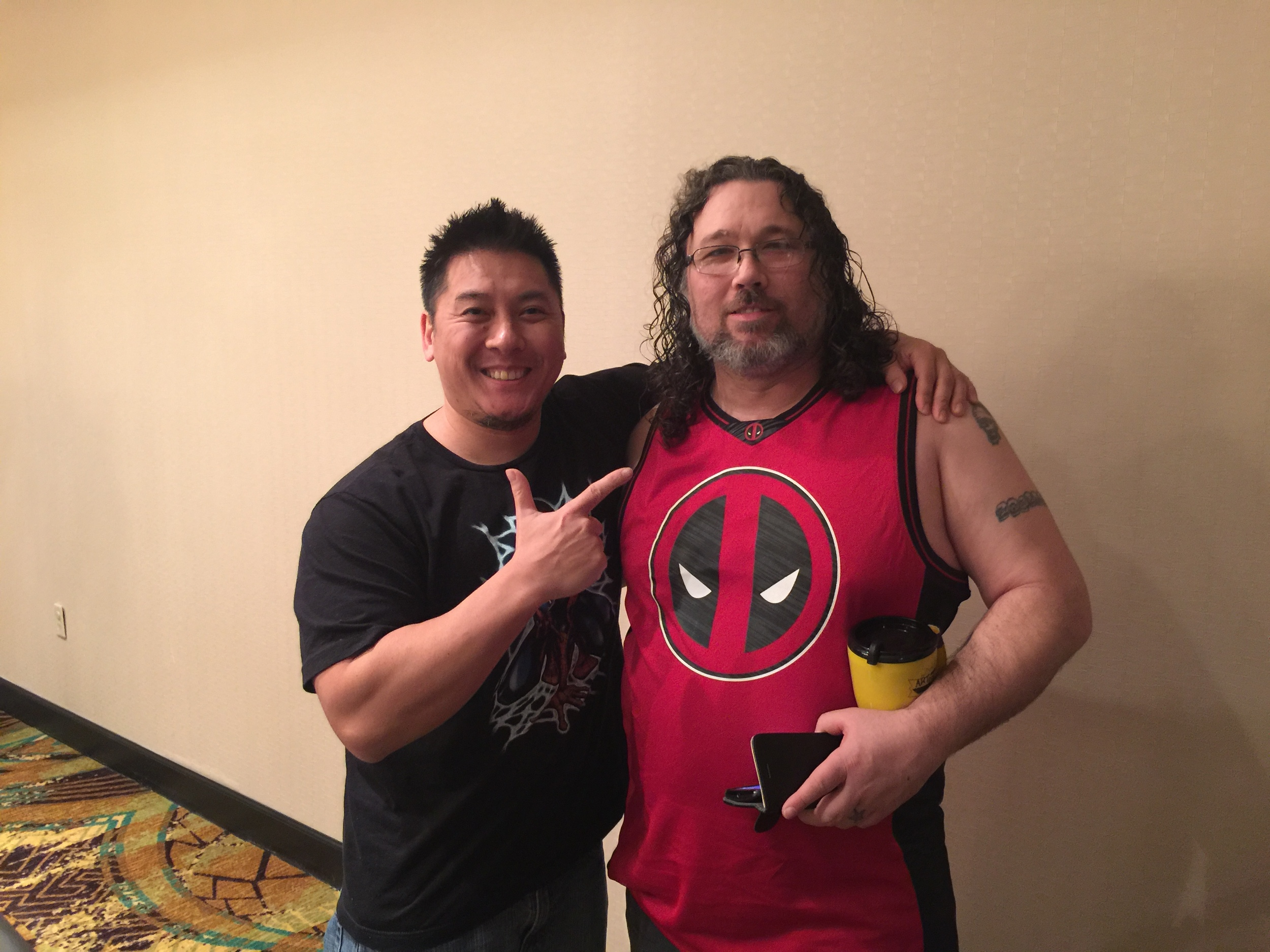 Me with Mike at the VIP party, he also joined us for the Batman V Superman movie that evening!