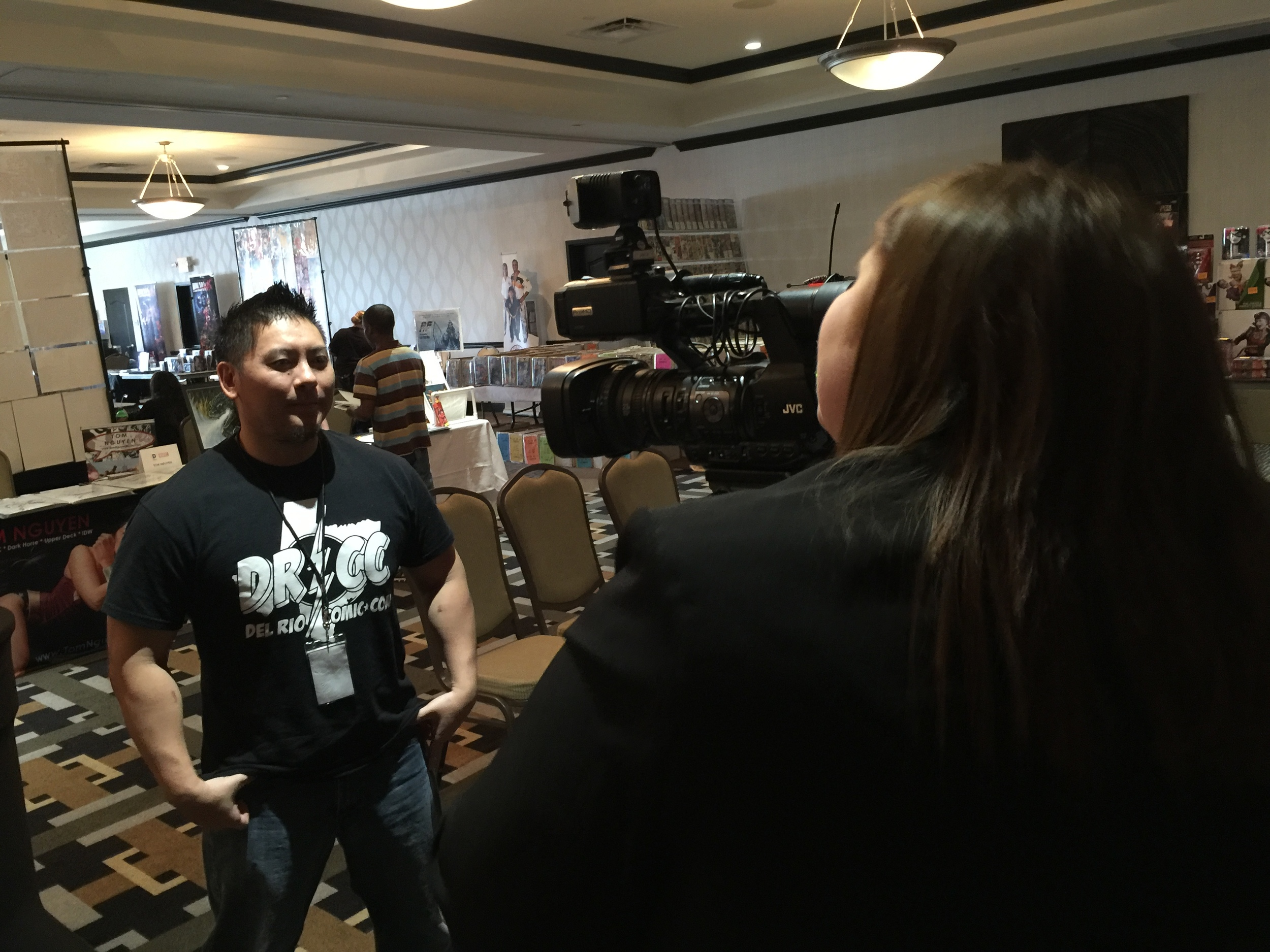 Some loser getting interviewed by the news...