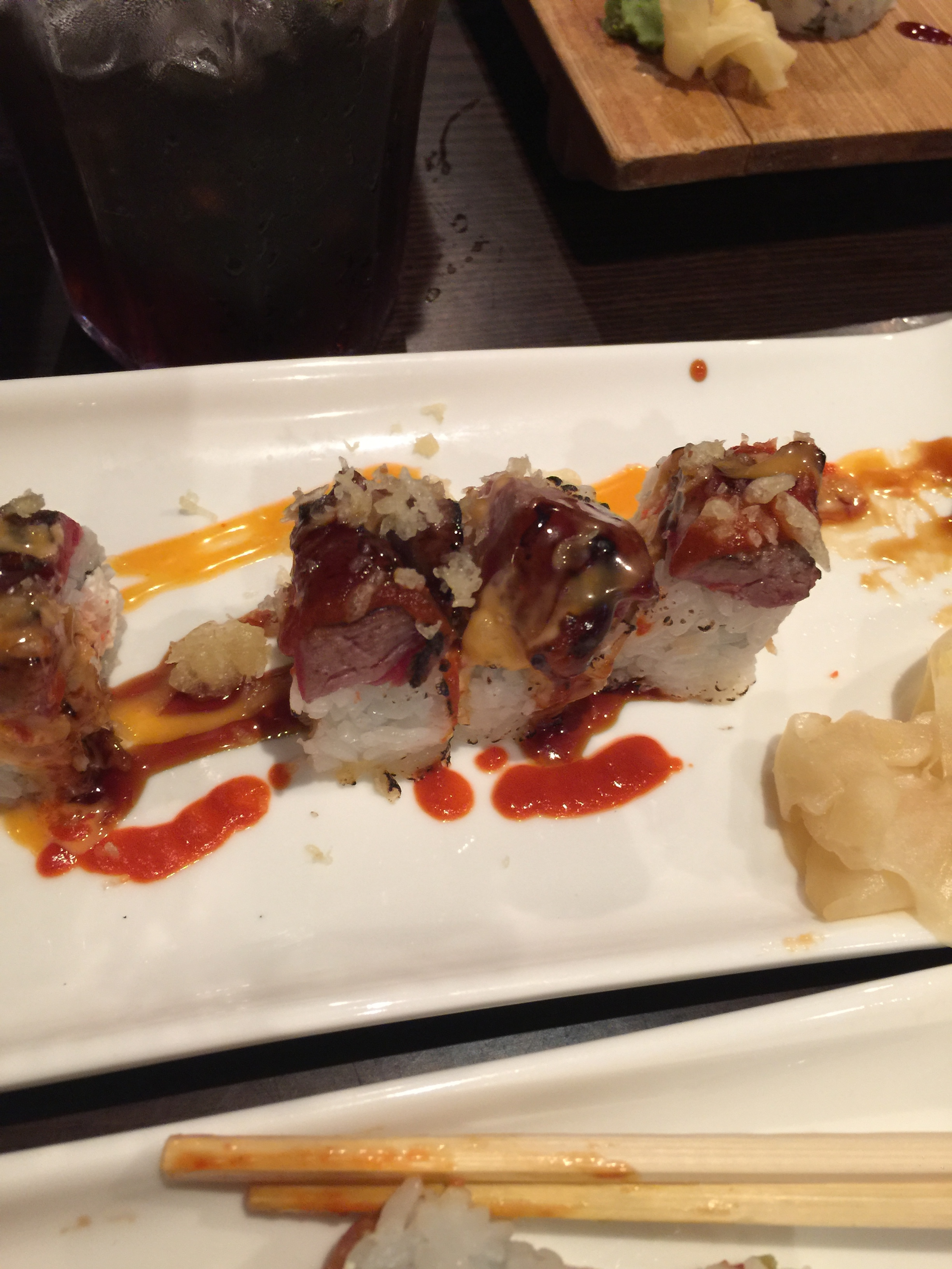 Last dinner:  sushi in the form of the Jonesboro Roll--no joke!  It was delicious!