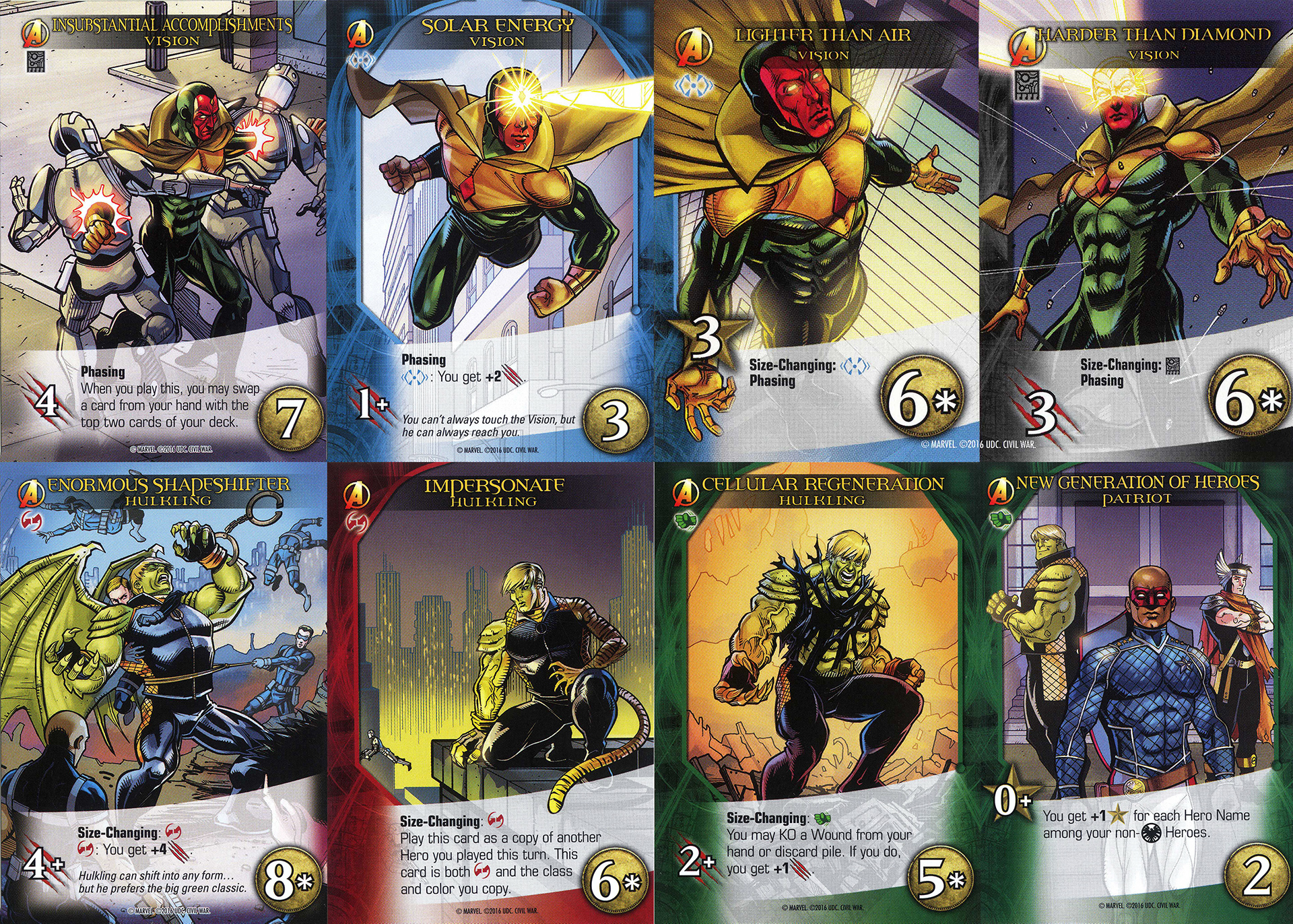 Top row: Vision Bottom row: Hulking (plus Patriot and Wiccan)