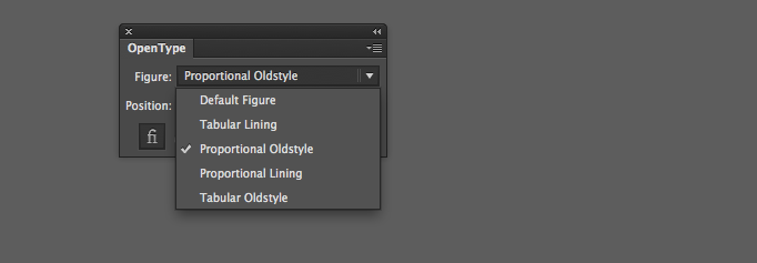The OpenType palette in Adobe Illustrator CC has the options for figures.