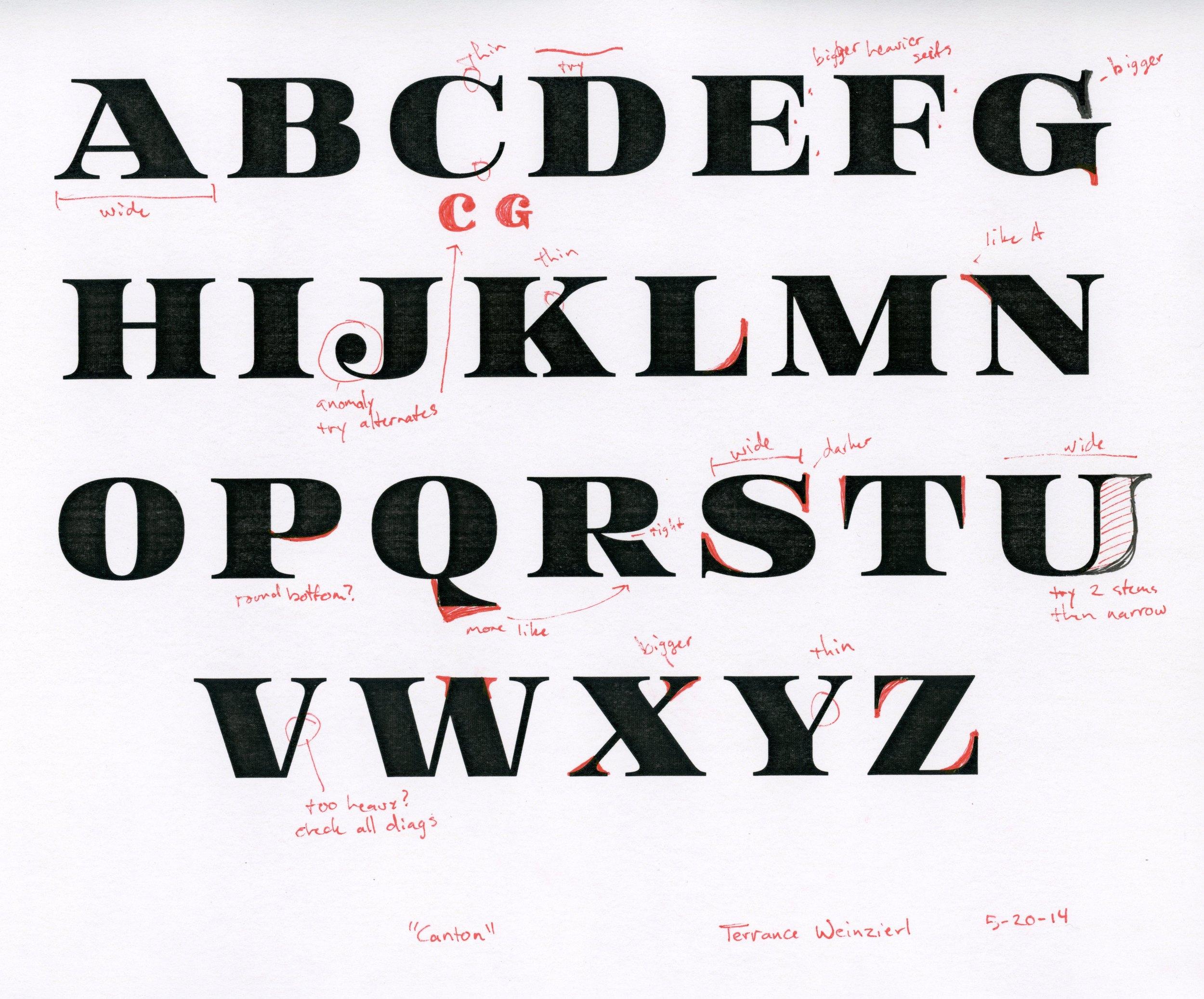 Canton typeface in progress
