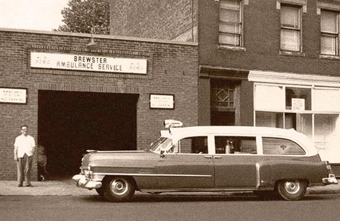 Brewster Ambulance Service Roxbury garage, circa early 1950s.