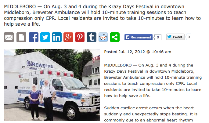 7-12-12 — South Coast Today: Brewster Ambulance to Offer 10-Minute CPR Training During Krazy Days