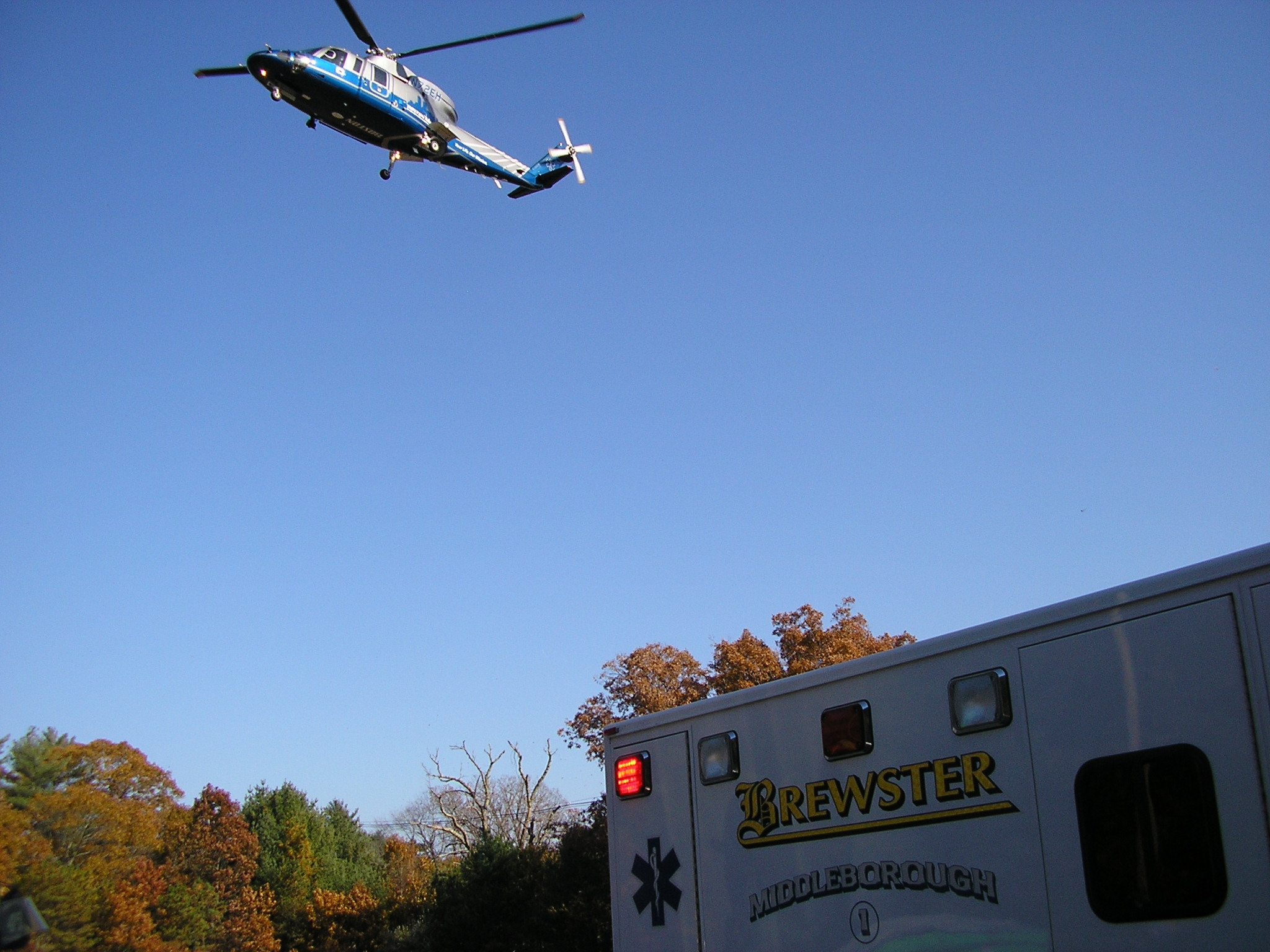 Helicopter and Brewster Ambulance