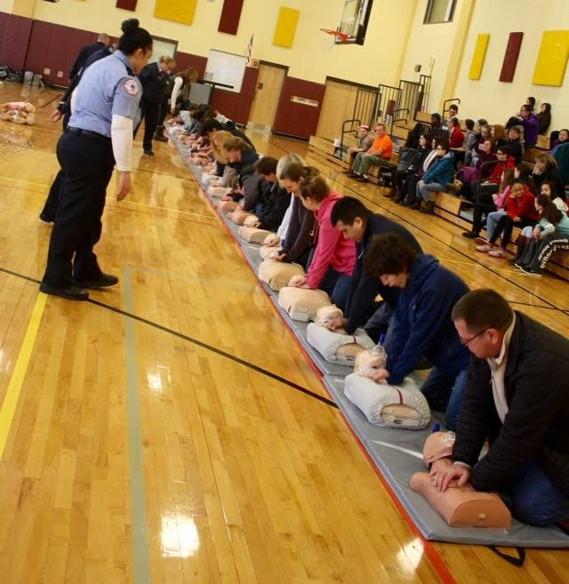 CPR class at a local high school