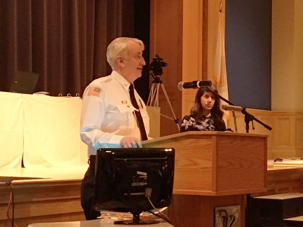 Presenting at a town meeting, Plymouth, MA
