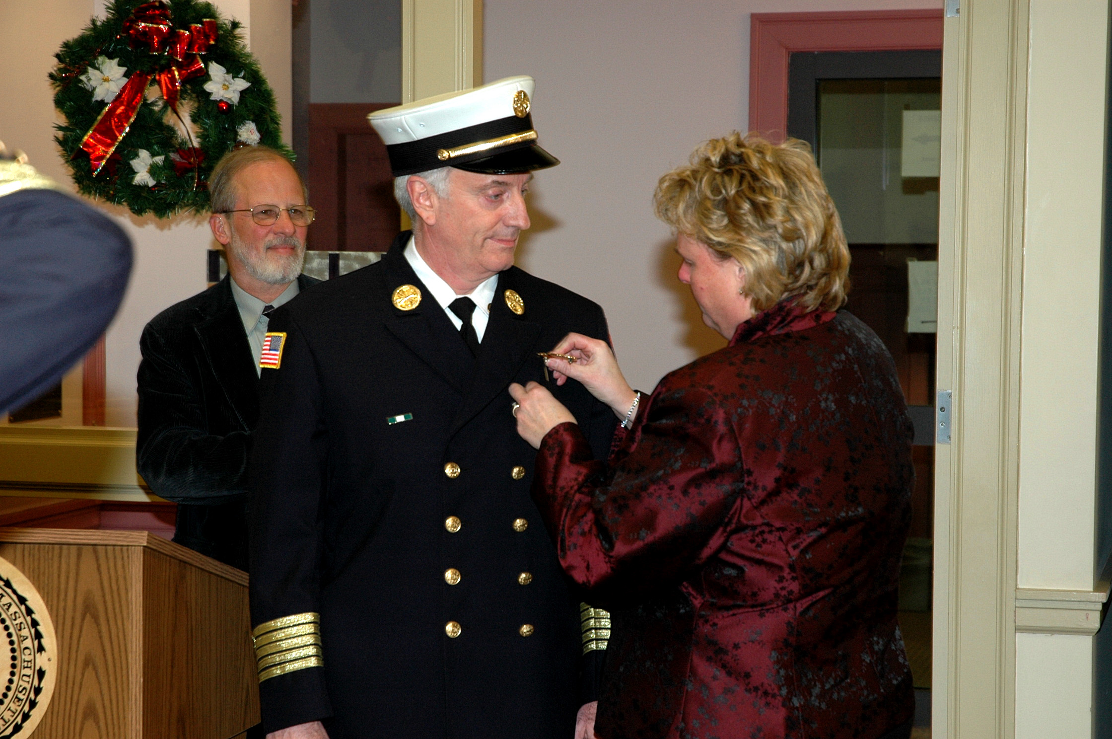 December 2007 Fire Chief Appointment, Mrs. Bradley pinned the new Chief's badge
