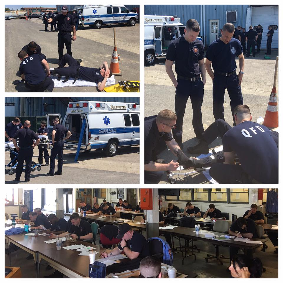 Brewster Ambulance paramedic's and EMT's teaching first responder skills to 26 Quincy Fire Department recruits