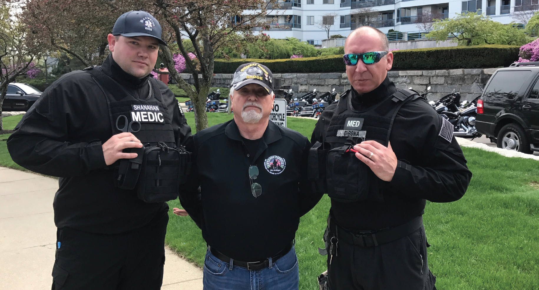Adam Shanahan and Chris DiBona Tactical Paramedics on protection detail with Congressional Medal of Honor recipient James C. McCloughan