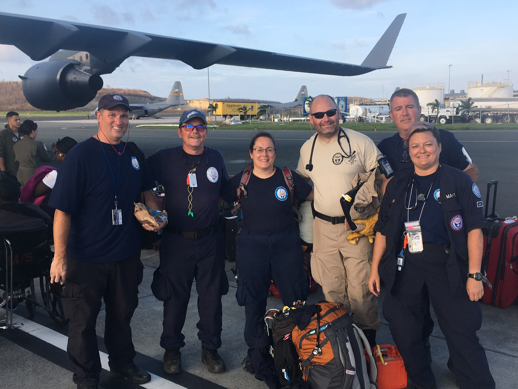 The DMAT (Disaster Medical Assistance Team) strike team sent to St. Croix from the Florida Keys for 24 hours to assist the US Air Force.