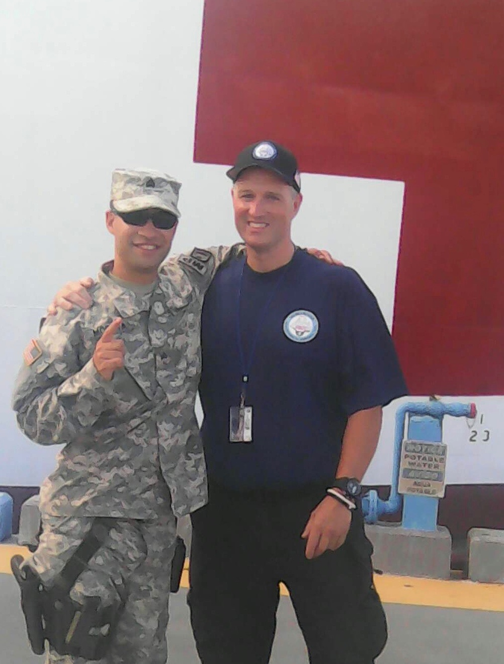 Pedro Moreta, Puerto Rico Reserve MP, who were tasked with providing security for the USNS Comfort, and Patrick Brown.