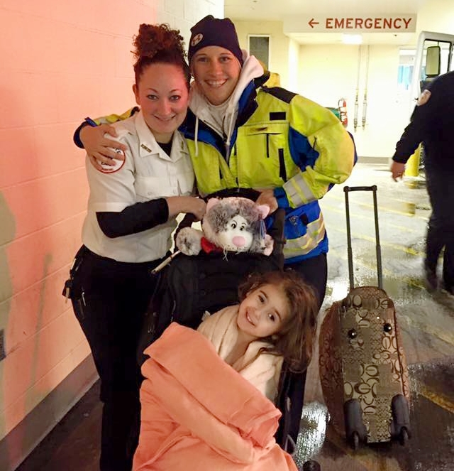 """Emily and Erika Apicella transported """"a fantastic and brave little girl, Abby,"""" to Mass General."""