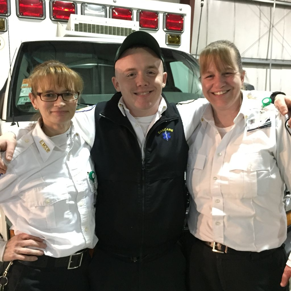 """Patrick """"Chucky"""" Benevelli, Paramedic Heather Franklin and EMT Stacey Meade at the station"""