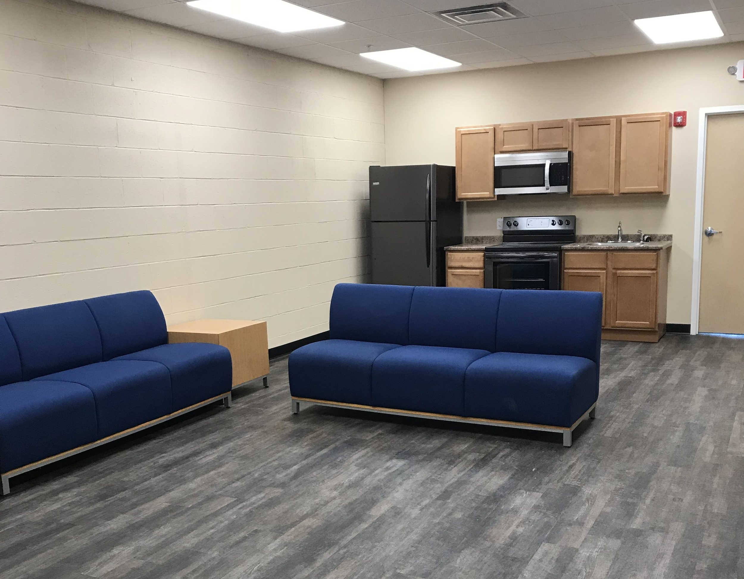 Crew lounge and kitchenette area