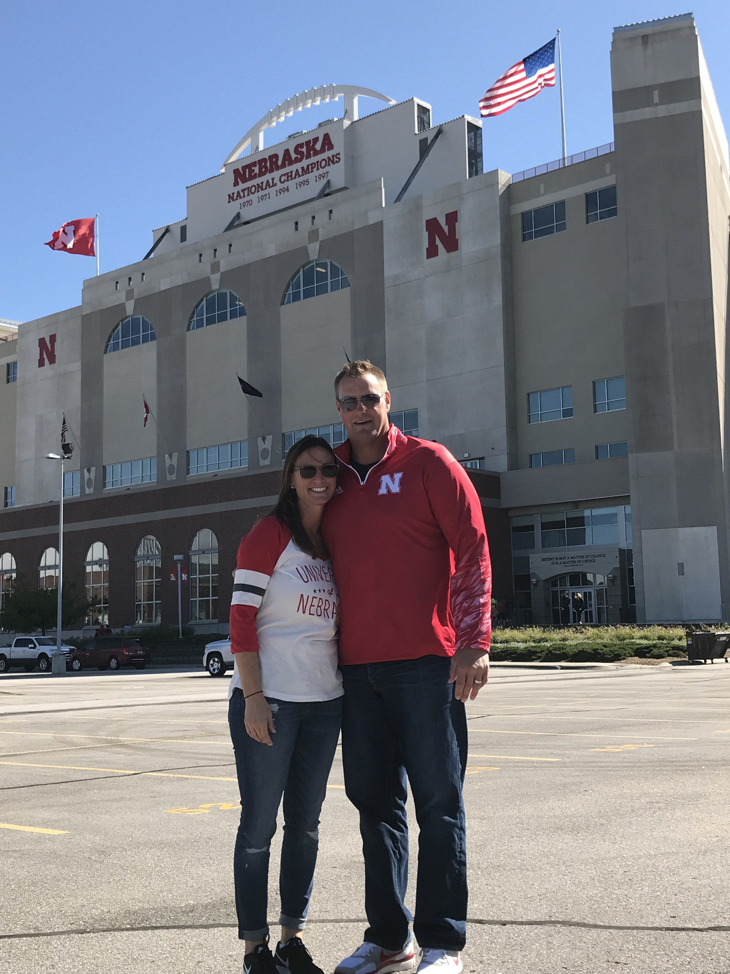 Russ and his wife Christine at Nebraska for the '97 National Championship Reunion