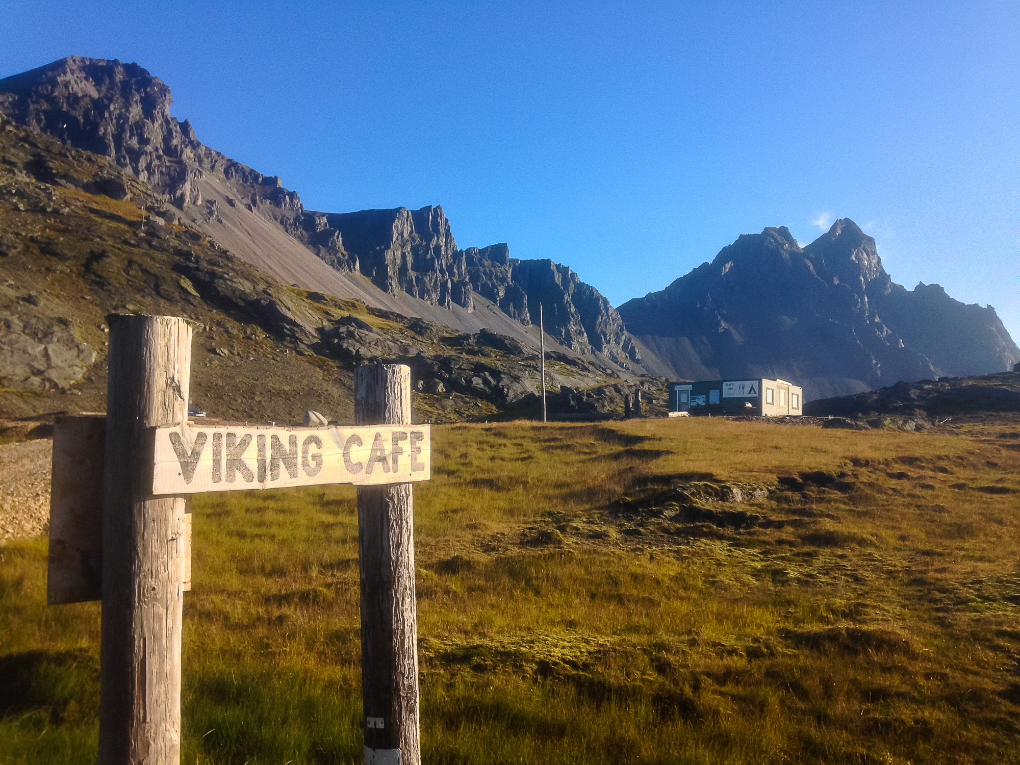 The Viking Cafe along the base of Vesturhorn Mountain