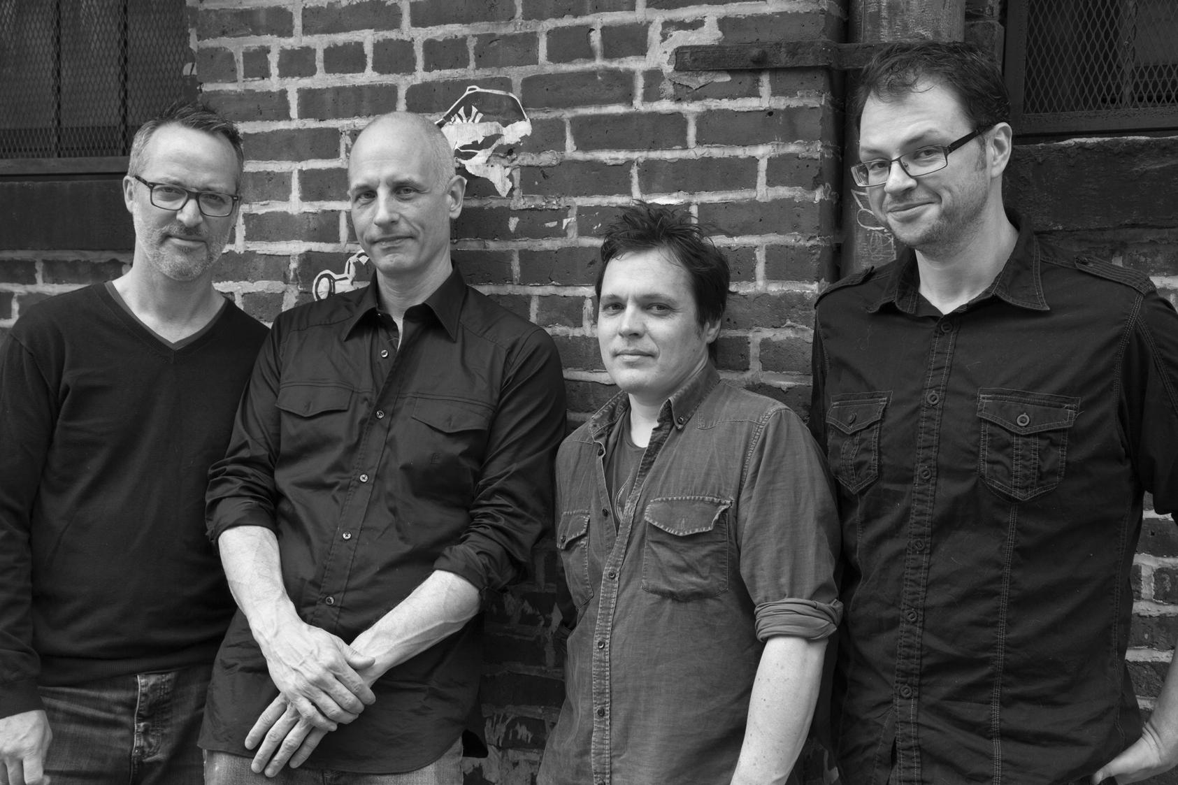 Michael Sarin, Erik Friedlander, Trevor Dunn & Doug Wamble outside The Bunker Studios in Brooklyn